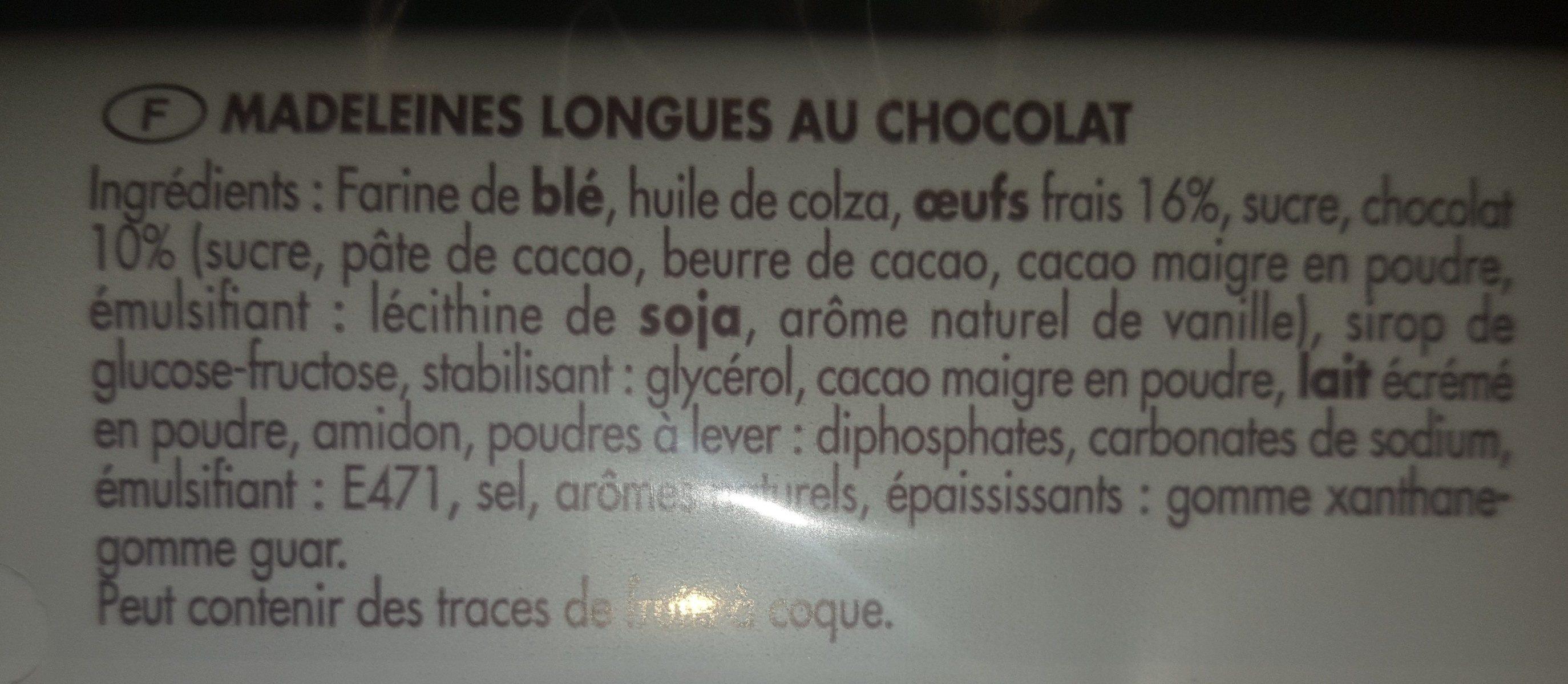 Madeleine longue tout chocolat - Ingredients