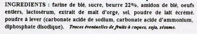 Les Cotentines - Galettes Sablées - Ingrédients