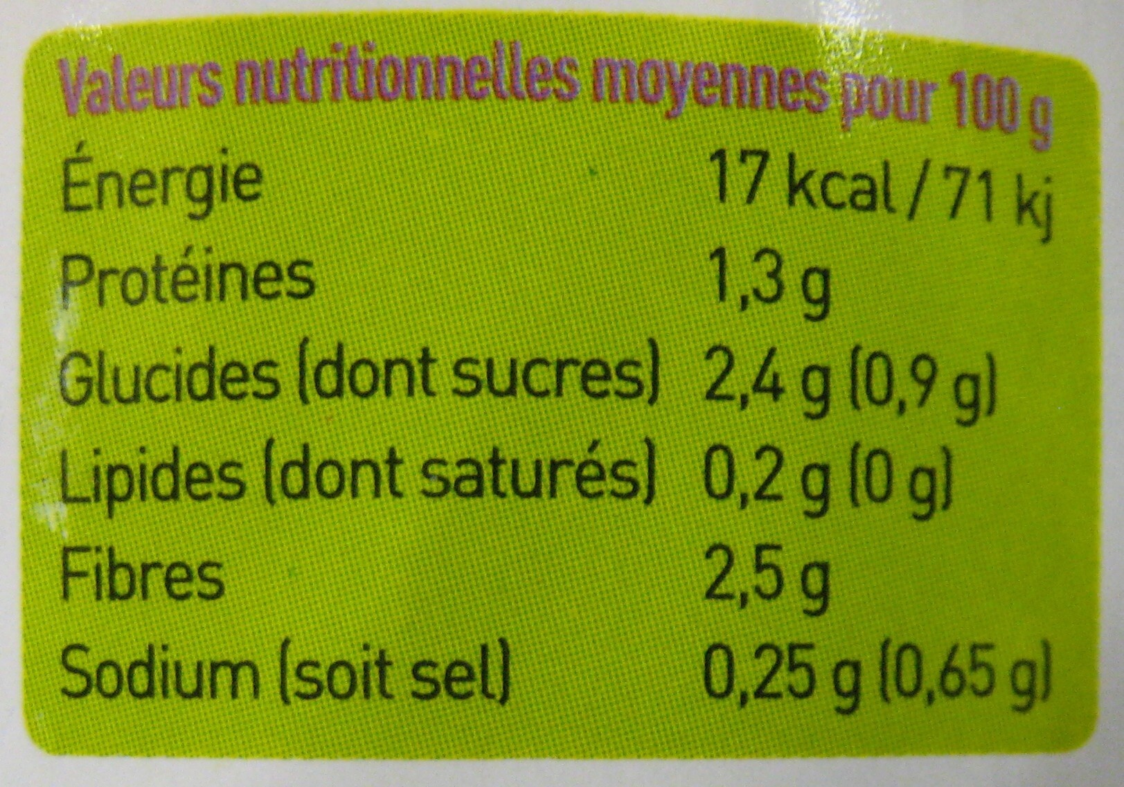 Haricots verts extra fins - 660 g - Rochefontaine - Informations nutritionnelles