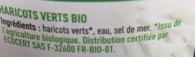 Rochefontaine Haricots Verts Extra Fins Bio 530 g - Ingredienti - fr