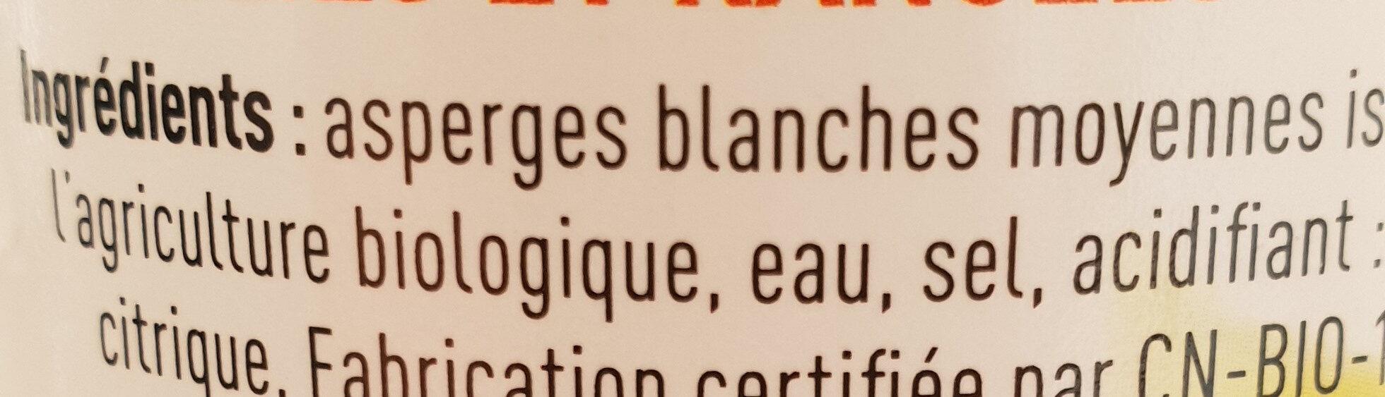 Asperges bio blanches moyennes Rochefontaine - Ingrediënten