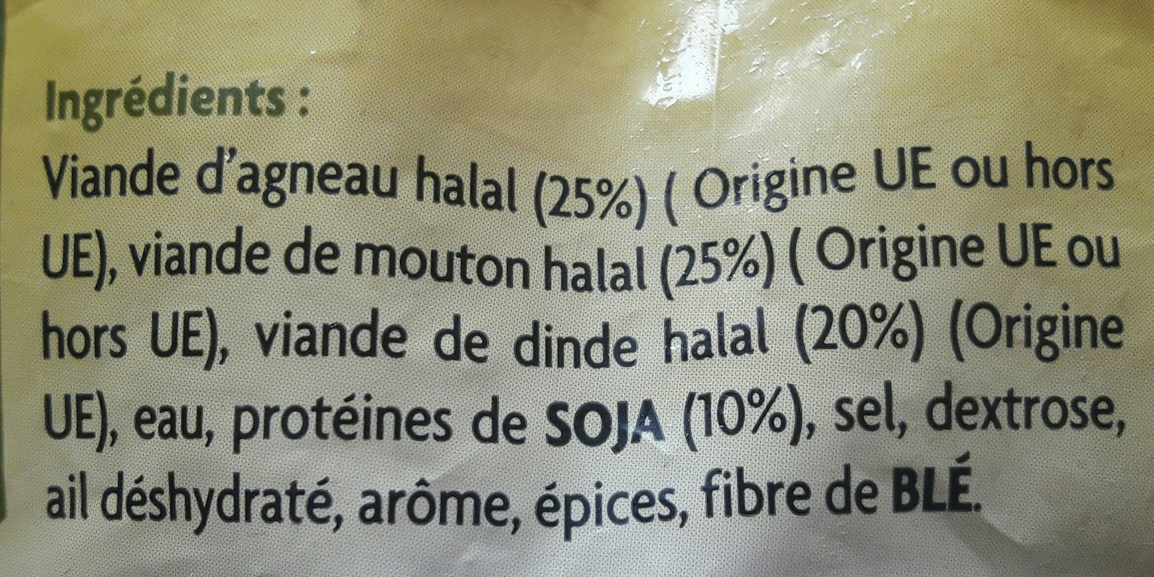 Boulette D'agneau Halal x33 -1kg - Ingrediënten