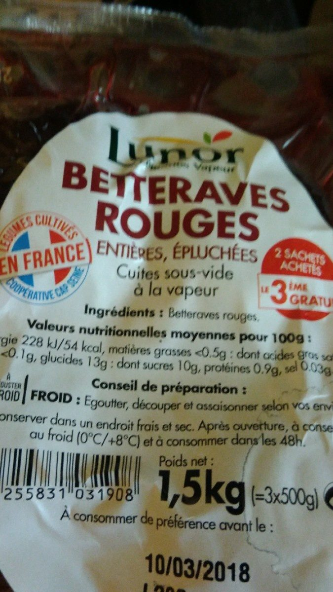 Betteraves rouges - Ingrédients - fr