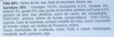 Pizza à partager, Jambon Fromage (cheddar, edam et gouda), Surgelée - Ingrediënten
