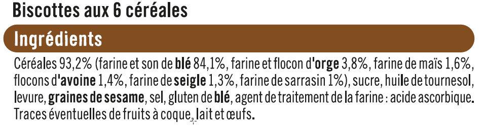 Biscottes aux 6 céréales - Ingredients