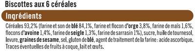 Biscottes aux 6 céréales - Ingrediënten