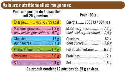 Biscottes aux 6 céréales - Voedigswaarden