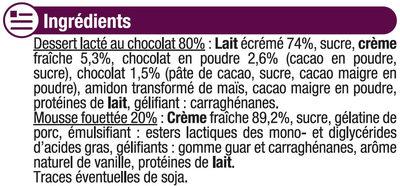 Dessert liégeois chocolat et crème fouettée - Ingrédients - fr