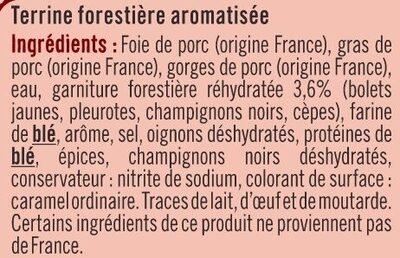 Terrine forestière goût champignons tranché - Ingrédients - fr