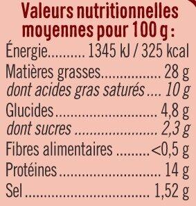Terrine forestière goût champignons tranché - Informations nutritionnelles - fr