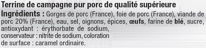 Terrine de campagne supérieure - Ingredients