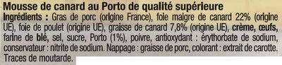 Mousse canard au porto qualité supérieure - Ingrediënten