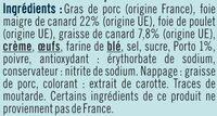 Mousse canard au porto qualité supérieure - Ingredients - fr