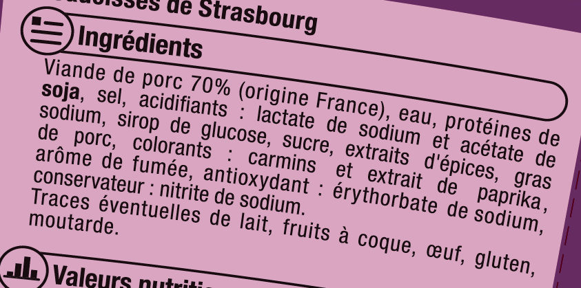 Saucisse cocktail, - Ingredients - fr