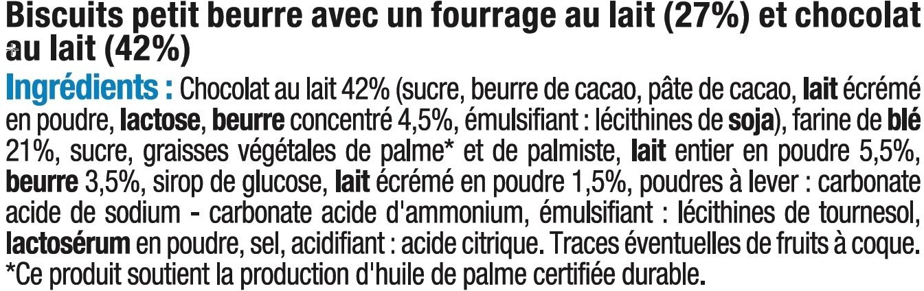Biscuits petit beurre choco lait fourré - Ingrédients - fr
