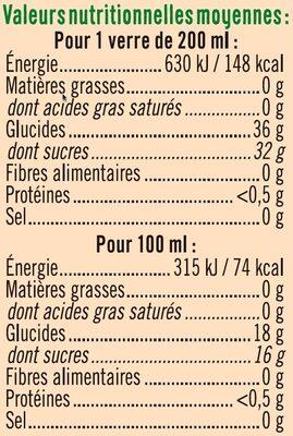 Pur jus de raisin - Informations nutritionnelles - fr