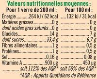 Jus de carottes - Nutrition facts