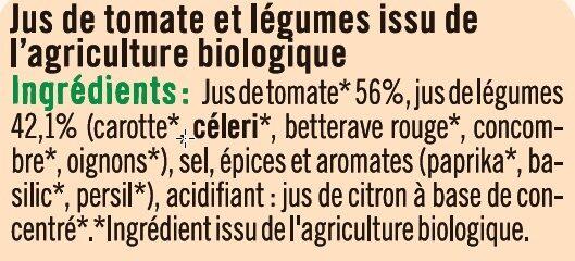 Jus de légumes salé Bio - Ingredienti - fr