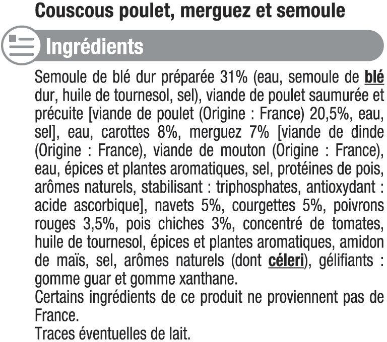 Couscous Poulet, merguez - Ingrédients
