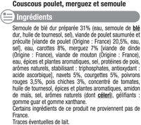 Couscous Poulet et merguez - Ingrédients