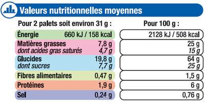 Palets bretons pur beurre - Informations nutritionnelles - fr