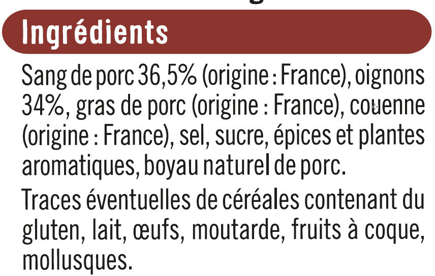 Boudin Noir aux oignons - Ingrédients
