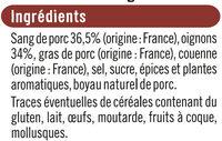 Boudin Noir aux oignons - Ingredients - fr