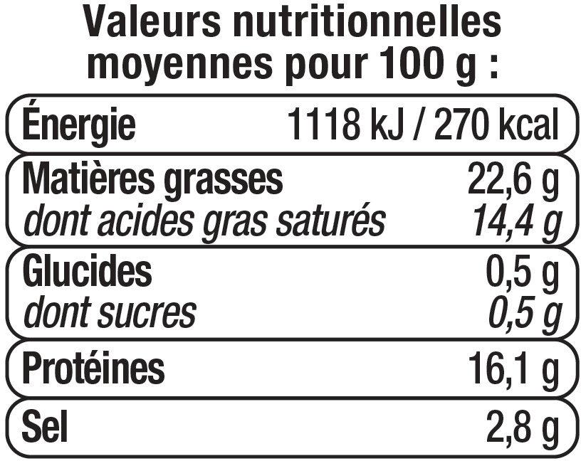 Fromage au lait pasteurisé Tranche du Soleil - Informations nutritionnelles - fr