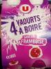 4 yaourts à boire saveur framboise - Produit