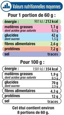 Graines de couscous moyen - Informations nutritionnelles - fr