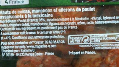 Plateau de poulet mariné 2 hauts de cuisses + ailes Mexicain - Ingrédients - fr
