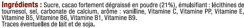 Boisson super chocolatée en granulé 7 vitamines et calcium - Ingrediënten - fr