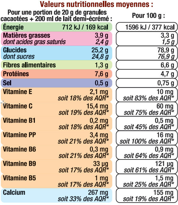 Boisson super chocolatée en granulé 7 vitamines et calcium - Voedingswaarden - fr