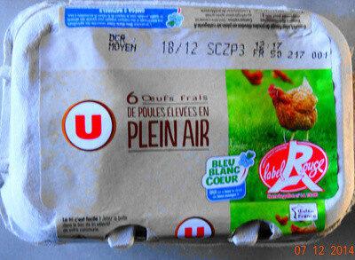 Oeufs de poules plein air Label Rouge calibre mixte bleu blanc coeur - Produit - fr