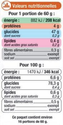 Riz de Camargue long grain - Valori nutrizionali - fr