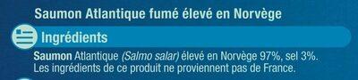 Saumon atlantique fumé Norvège - Ingrédients - fr