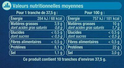 Saumon Atlantique Norvège fumé - Informations nutritionnelles - fr
