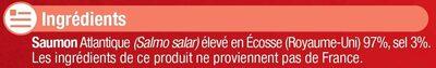 Saumon fumé Atlantique Ecosse - Ingrediënten