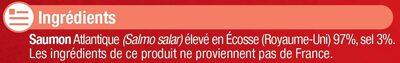 Saumon fumé Atlantique Ecosse - Ingrediënten - fr