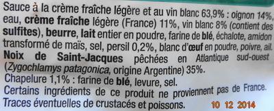 Coquilles Saint-Jacques* à la Bretonne (4 + 2 Gratuites), Surgelé - Ingredients