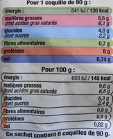 Coquilles Saint-Jacques* à la Bretonne (4 + 2 Gratuites), Surgelé - Nutrition facts