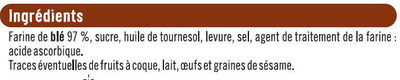 Biscottes au froment - Ingredients - fr