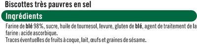 Biscottes très pauvre en sel - Ingredients - fr