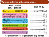 Pain grillé - Informations nutritionnelles