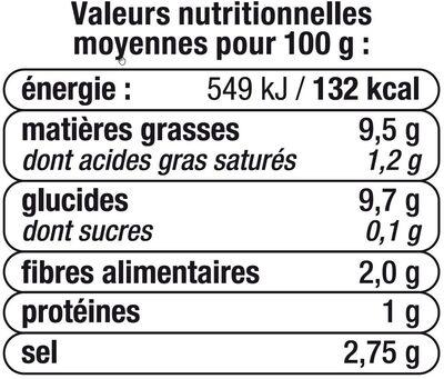 Olives noires confites dénoyautées - Informations nutritionnelles - fr