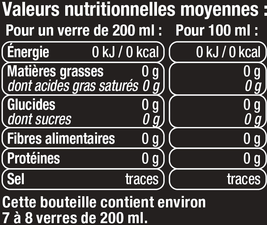 Tonic light - Informations nutritionnelles
