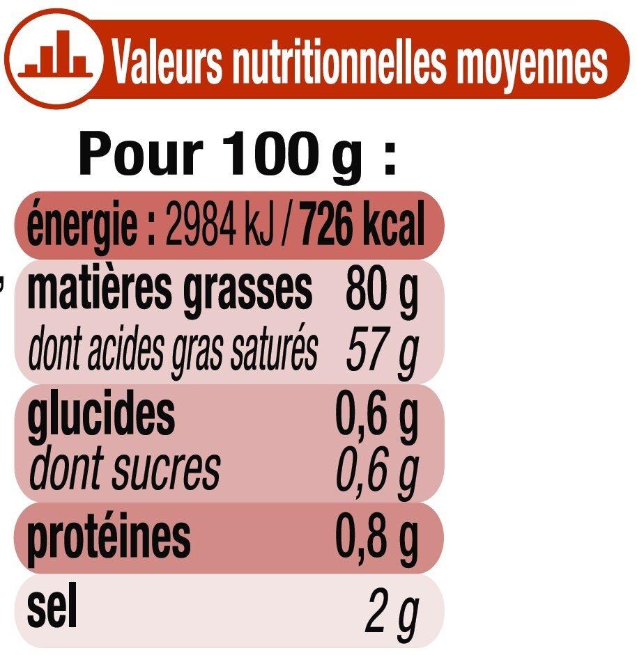 Beurre moulé de Bretagne demi-sel 80% MG - Voedingswaarden - fr