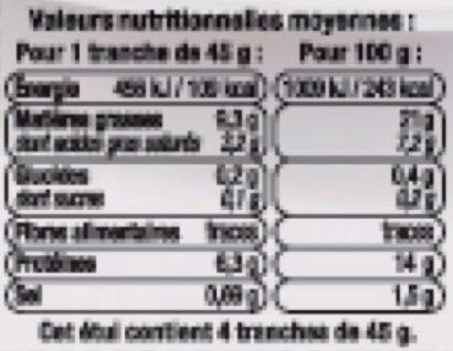 Tête roulée avec langue - Informations nutritionnelles - fr
