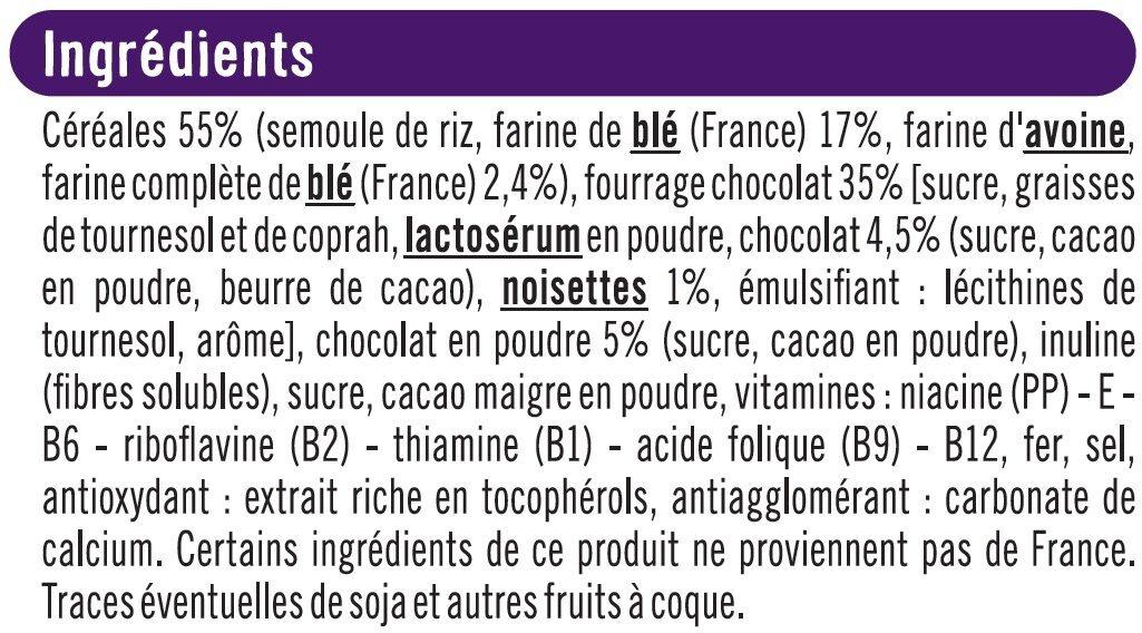Céréales chocolatées et fourrées au chocolat - Ingredients - fr