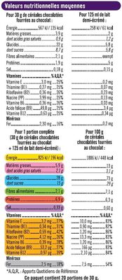Céréales chocolatées et fourrées au chocolat - Nutrition facts - fr